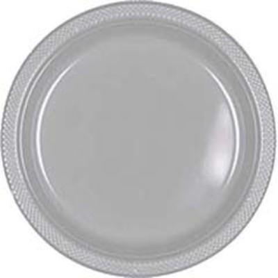 Silver Sparkle Plastic Dinner Plates 10