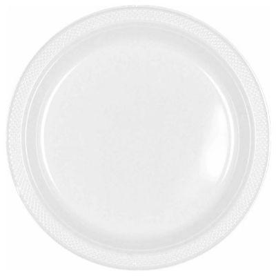 Frosty White Plastic Dinner Plates 10