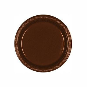 "Chocolate Brown Plastic Dessert Plate 7"" - 20 Pack"