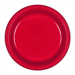 "Apple Red Plastic Dessert Plate 7"" - 20 Pack"