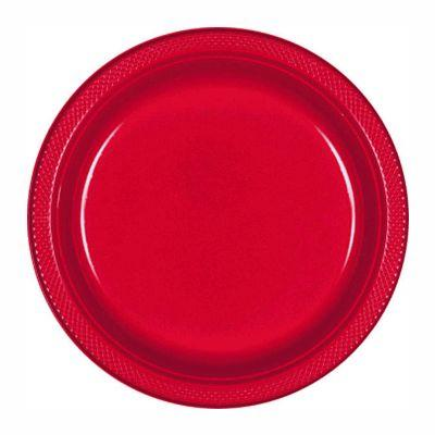 Apple Red Plastic Dessert Plate 7