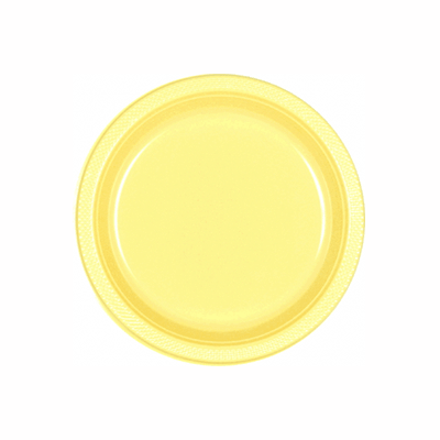 Light Yellow Plastic Dessert Plates 7