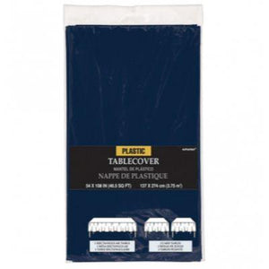 "Navy Blue Plastic Tablecover 54"" x 108"""