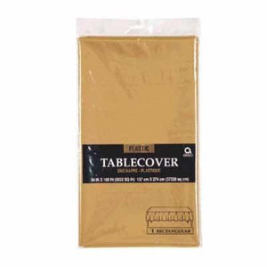 "Gold Sparkle Plastic Tablecover 54"" x 108"""