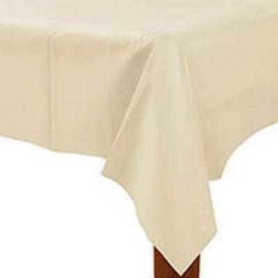 Ivory White Plastic Tablecover 54