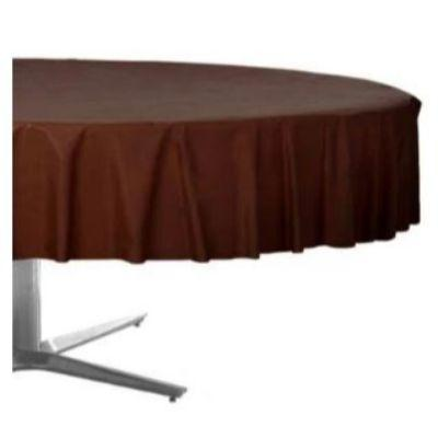 Chocolate Brown Plastic Round Tablecover 84