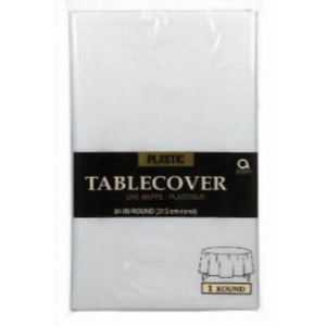 Clear Plastic Round Tablecover 84""
