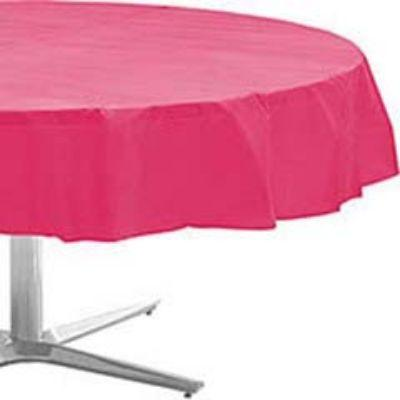 Bright Pink Plastic Round Tablecover 84
