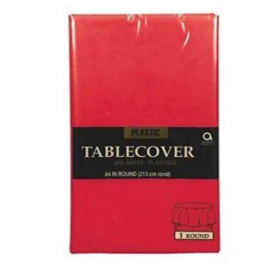 Apple Red Round Plastic Tablecover 84
