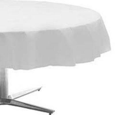 Frosty White Plastic Round Tablecover 84