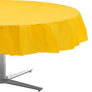 Yellow Plastic Round Tablecover 84""