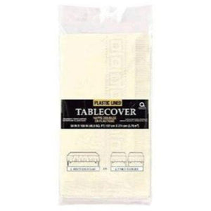 "Ivory White Paper Tablecover 54"" x 108"""