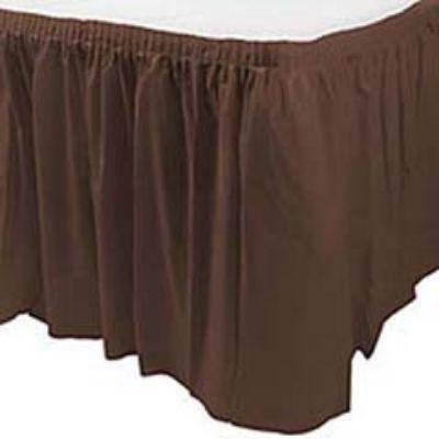 Chocolate Brown Plastic Table Skirt 14'