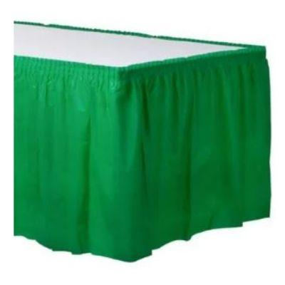 Festive Green Plastic Table Skirt 14'