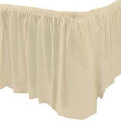 Ivory White Plastic Table Skirt 14'