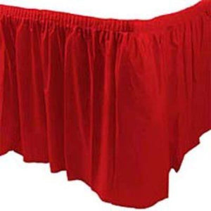 Apple Red Plastic Tableskirt 14'
