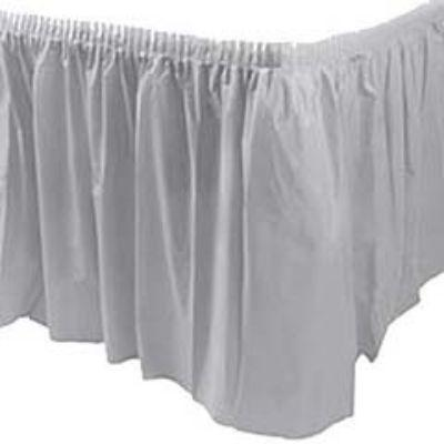 Silver Sparkle Plastic Table Skirt 14'
