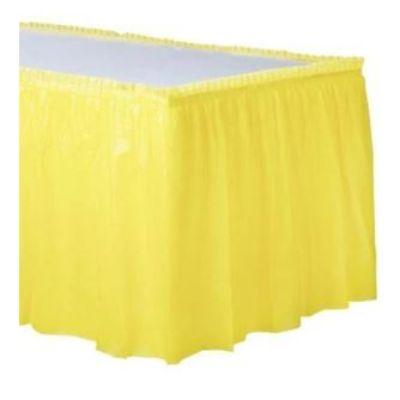 Light Yellow Plastic Table Skirt 14'