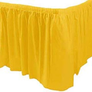 Yellow Plastic Table Skirt 14'