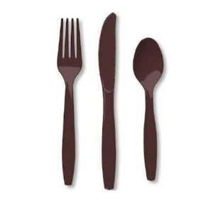 Chocolate Brown Plastic Cutlery - 24 Pack