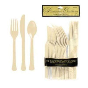 Ivory White Premium Plastic Cutlery - 20 Pack