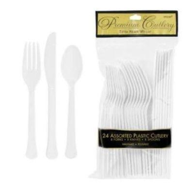 Frosty White Premium Plastic Cutlery - 20 Pack