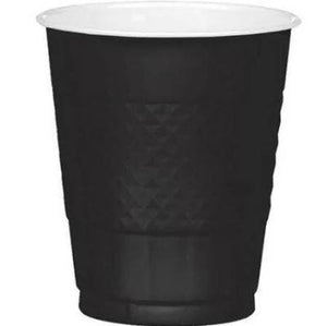 Jet Black Plastic Cup 12 oz. - 20 Pack