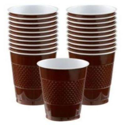 Chocolate Brown Plastic Cup 12 oz. - 20 Pack