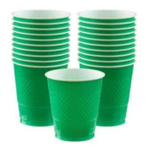 Festive Green Plastic Cup 12 oz. - 20 Pack