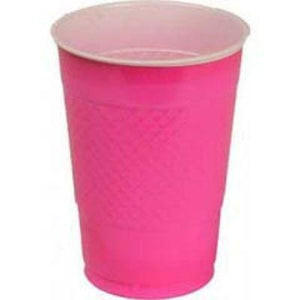 Bright Pink Plastic Cups 12 oz. - 20 Pack