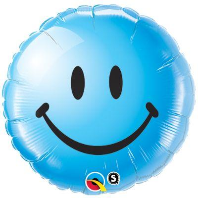 Blue Smiley Face Mylar Balloon 18
