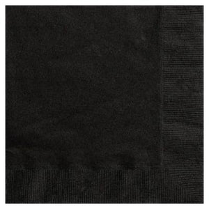 Midnight Black Beverage Napkin - 20 Pack