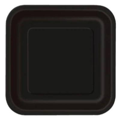 Midnight Black Paper Square Dinner Plate - 14 Pack