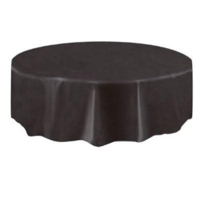 Midnight Black Plastic Round Tablecover 84
