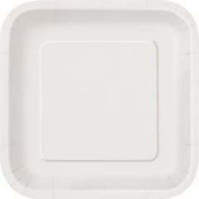 Bright White Paper Square Dessert Plate - 16 Pack