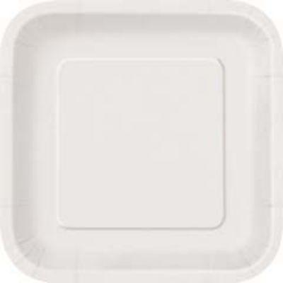Bright White Paper Square Dinner Plate - 14 Pack