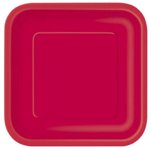 "Ruby Red Square Dessert Plate 7"" - 16 Pack"