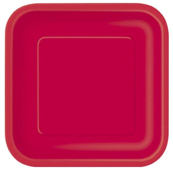 Ruby Red Square Dessert Plate 7