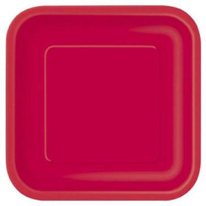 "Ruby Red Square Dinner Plate 9"" - 14 Pack"