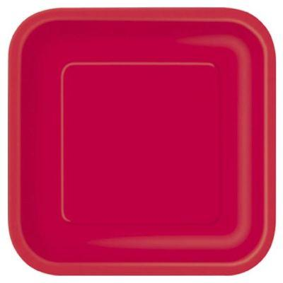 Ruby Red Square Dinner Plate 9