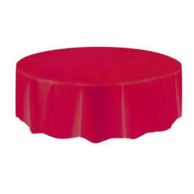 Ruby Red Round Plastic Tablecover 84
