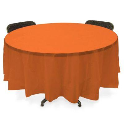 Orange Pumpkin Round Plastic Tablecover 84