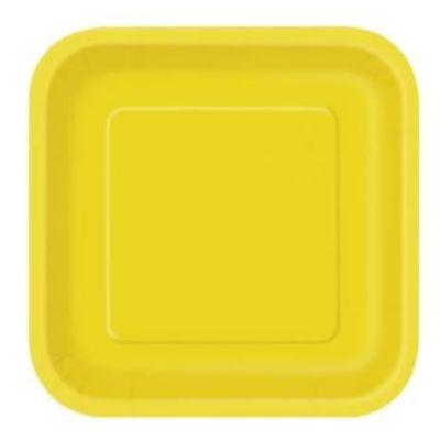 Sunflower Yellow Square Dessert Plate - 16 Pack