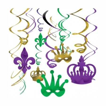 Mardi Gras Hanging Swirl Decoration - 12 Pack