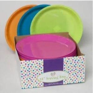 "Bright Round Plastic Tray 14"" Assorted"