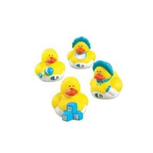 Baby Shower Boy Mini Rubber Duck - 12 Pack