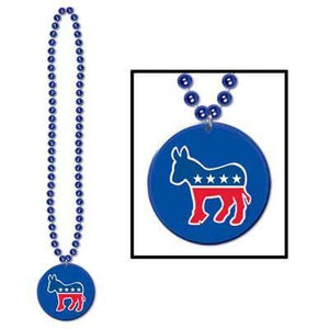Democratic Medallion Bead Necklace 33""