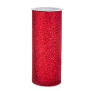 "Red 6"" x 10yd Tulle Glitter"