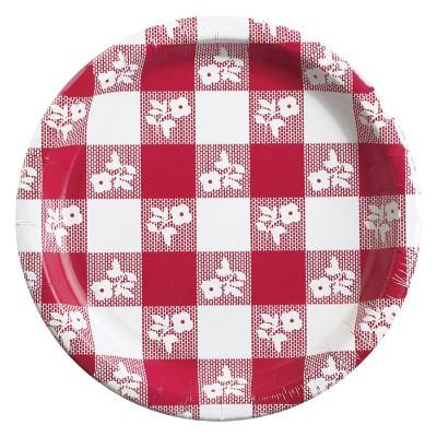 Red Gingham Dinner Plate - 8 Pack