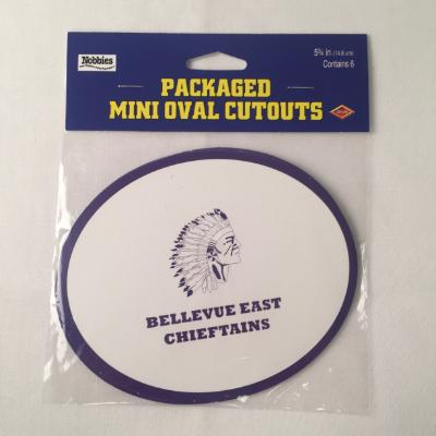 Bellevue East Chieftains Oval Cutout - 6 Pack